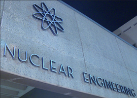 Image of building with atom structure symbolizing Nuclear Engineering