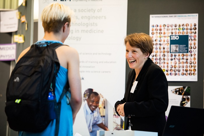 a student meeting employers at the WRIPA fair