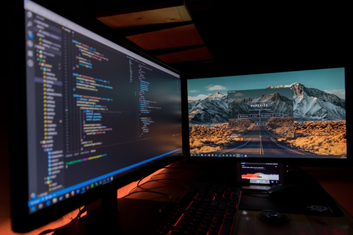 computer screens with programming languages