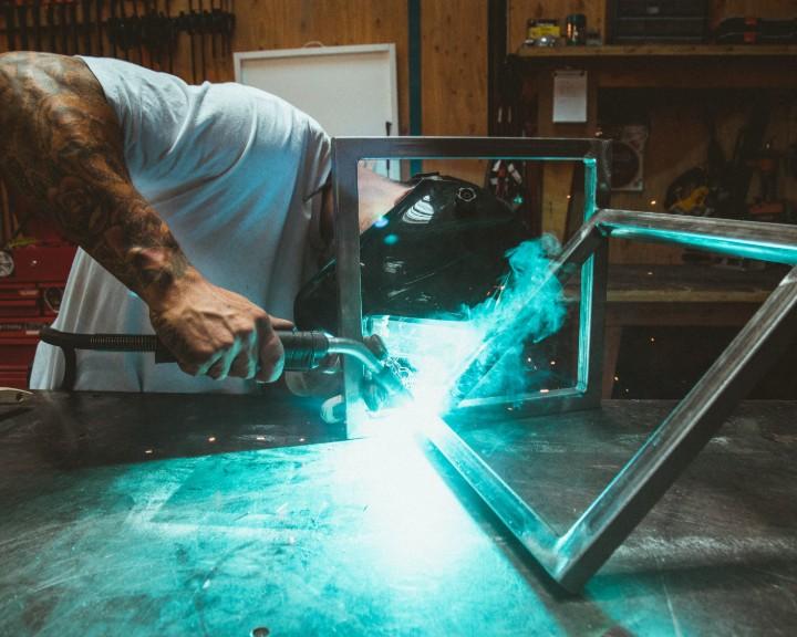 a welder welding metal