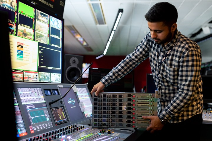 a sound engineer in a studio